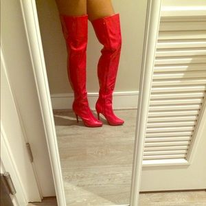 Frederick's of Hollywood Red Thigh High Boot
